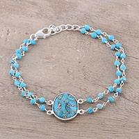 Sterling silver pendant bracelet, 'Fascinating Egg' - Composite Turquoise Link Pendant Bracelet from India