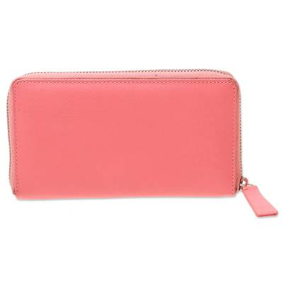 Carnation Pink and Aqua Zippered Leather Wallet from India