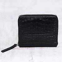 Leather wallet, 'Travel Light in Black' - Black Leather Zippered Wallet with Crocodile Motif