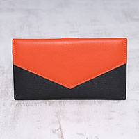 Leather wallet, 'Power Chic in Orange' - Handcrafted Black and Orange Leather Wallet from India