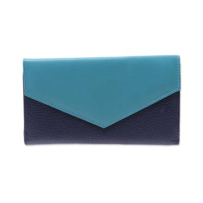 Handcrafted Navy and Aqua Leather Wallet from India