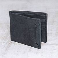Men's leather wallet, 'Modern Essentials in Black' - Men's Black Leather Bi-Fold Wallet with Removable ID Holder
