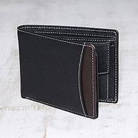 Men's leather wallet, 'City Sophisticate in Black' - Men's Black Pebbled Leather Contrast Stitched Bi-Fold Wallet