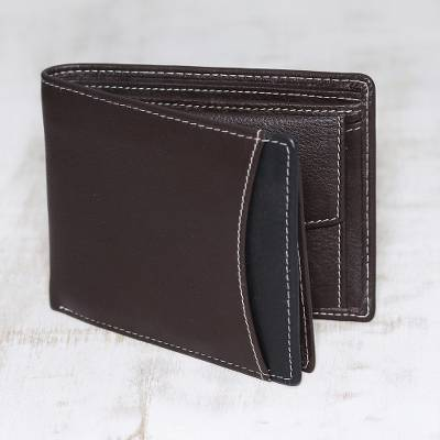 Men's leather wallet, 'City Sophisticate in Brown' - Men's Brown Pebbled Leather Contrast Stitched Bi-Fold Wallet