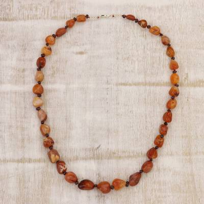 Onyx and garnet beaded long necklace, 'Set Ablaze' - Onyx and Garnet Beaded Long Necklace from India