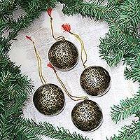 Papier mache ornaments, 'Night Cheer' (set of 4) - Papier Mache Ornaments in Black and Gold (Set of 4)