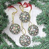 Papier mache ornaments, 'Holiday Greetings' (set of 4) - Hand-Painted Papier Mache Holiday Ornaments (Set of 4)