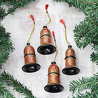 Papier mache ornaments, 'Floral Excitement' (set of 4) - Artisan Crafted Papier Mache Bell Ornaments (Set of 4)