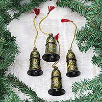 Papier mache ornaments, 'Midnight Song' (set of 4) - Floral Papier Mache Bell Ornaments from India (Set of 4)