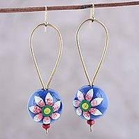 Wood dangle earrings, 'Floral Spheres' - Hand-Painted Floral Wood Dangle Earrings from India