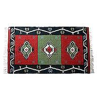 Wool area rug, 'Abstract Evergreen' (5x8) - Crimson Avocado Green Black Abstract Motif Wool Rug (5x8)