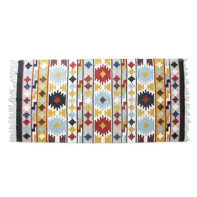 Wool rug, 'Geometric Kaleidoscope' (5x8) - Multi-Color Geometric Motif Handwoven Wool Rug (5x8)