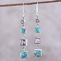 Amethyst dangle earrings, 'Tantalizing Tiers' - Amethyst Composite Turquoise Sterling Silver Dangle Earrings