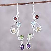 Multi-gemstone dangle earrings, 'Dancing Rainbow' - Multi-Gemstone and Scrolling Sterling Silver Dangle Earrings