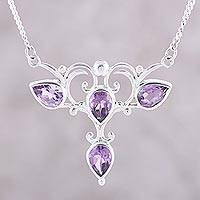 Amethyst pendant necklace, 'Princess Bloom' - Teardrop Faceted Amethyst Sterling Silver Pendant Necklace