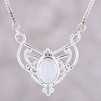 Rainbow moonstone pendant necklace, 'Moonrise Queen' - Oval Rainbow Moonstone and Sterling Silver Pendant Necklace