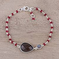 Smoky quartz pendant bracelet, 'Colorful Elegance' - Smoky Quartz and Garnet Pendant Bracelet from India
