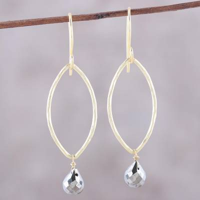Gold plated pyrite dangle earrings, 'Metallic Gleam' - 22k Gold Plated Pyrite Dangle Earrings from India