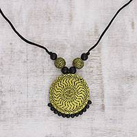 Ceramic pendant necklace, 'Gleaming Chakra' - Gold-Tone Ceramic Pendant Necklace from India