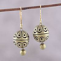 Ceramic dangle earrings, 'Golden Orbs' - Spherical Gold-Tone Ceramic Dangle Earrings from India