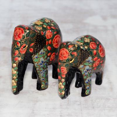 Papier mache and wood sculptures, 'Maternal Connection' (pair) - Floral Papier Mache Elephant Sculptures (Pair) from India
