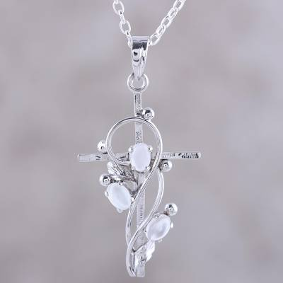 Rhodium plated moonstone pendant necklace, 'Sacred Trinity' - Sterling Silver and Moonstone Cross Pendant Necklace