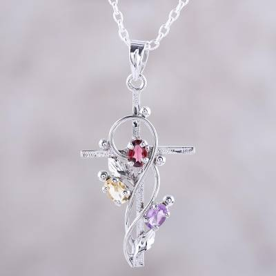 Rhodium plated multi-gemstone pendant necklace, 'Sacred Trinity' - Rhodium Plated Garnet Amethyst and Citrine Cross Necklace