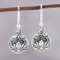 Sterling silver dangle earrings, 'Divine Lotus' - Sterling Silver Lotus Dangle Earrings from India