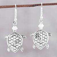 Sterling silver dangle earrings, 'Turtle Joy' - Sterling Silver Turtle Dangle Earrings from India