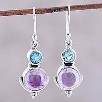 Amethyst and blue topaz dangle earrings, 'Lively Harmony' - Amethyst and Blue Topaz Dangle Earrings from India