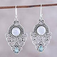 Rainbow moonstone and blue topaz dangle earrings,