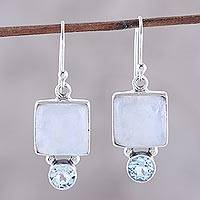 Rainbow moonstone and blue topaz dangle earrings, 'Creative Beauty' - Square Rainbow Moonstone and Blue Topaz Earrings from India