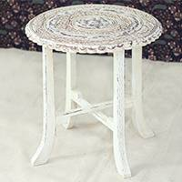 Wood accent table, 'Fantastic Flowers' - Distressed Mango Wood Accent Table from India