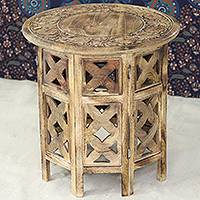 Wood accent table, 'Floral Festivity' - Artisan Crafted Mango Wood Accent Table from India