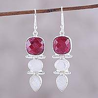 Featured review for Ruby and rainbow moonstone dangle earrings, Glittering Muse
