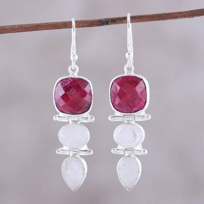 Ruby and rainbow moonstone dangle earrings, 'Glittering Muse' - Ruby and Rainbow Moonstone Dangle Earrings from India