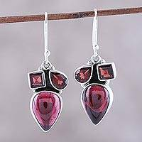 Garnet dangle earrings, 'Natural Dazzle' - Natural Garnet Dangle Earrings from India