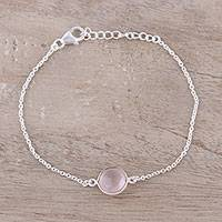 Rose quartz pendant bracelet, 'Pink Night' - Adjustable Rose Quartz Pendant Bracelet from India