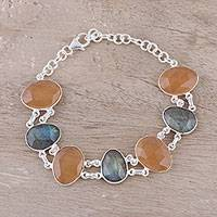 Onyx and labradorite link bracelet, 'Sunlight and Mist' - Orange Onyx and Labradorite Link Bracelet from India