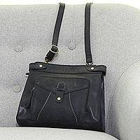 Leather shoulder bag, 'Black Fantasy' - Handmade Leather Shoulder Bag in Black from India