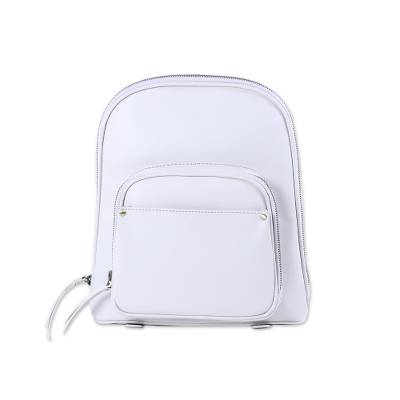 Handmade Leather Backpack in White from India
