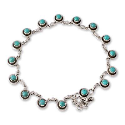 Sterling Silver and Calcite Link Anklet from India
