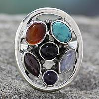 Multi-gemstone cocktail ring, 'Joyful Mix' - Oval Multi-Gemstone Cocktail Ring from India