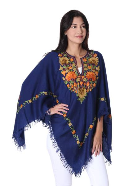 Floral Embroidered Wool Poncho in Midnight from India
