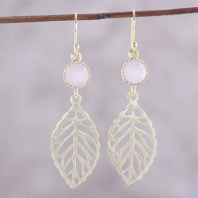 Gold plated rose quartz dangle earrings, 'Jaipur Leaves' - Gold Plated Rose Quartz Leaf Earrings from India