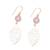 Gold plated rose quartz dangle earrings, 'Jaipur Leaves' - Gold Plated Rose Quartz Leaf Earrings from India (image 2c) thumbail