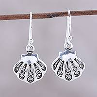 Sterling silver dangle earrings, 'Bright Shells' - Seashell-Shaped Sterling Silver Dangle Earrings from India