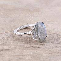 Rhodium plated labradorite single-stone ring, 'Aurora Bliss' - Rhodium Plated Labradorite Single-Stone Ring from India