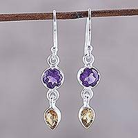 Amethyst and citrine dangle earrings, 'Alluring Sparkle' - Amethyst and Citrine Dangle Earrings from India