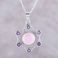 Chalcedony and amethyst pendant necklace, 'Charismatic Beauty' - Pink Chalcedony and Amethyst Pendant Necklace from India